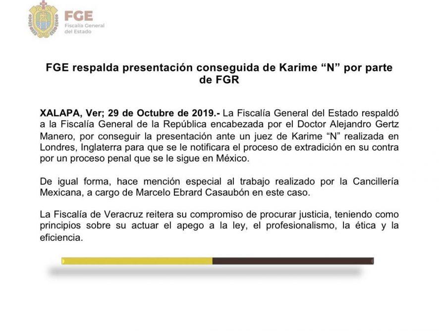 La Fiscalía General del Estado de Veracruz respaldó a la Fiscalía General de la Repúlica