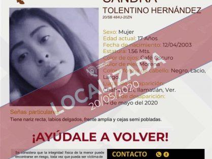 Localiza Fiscalía Especializada a menor desaparecida en Ilamatlán