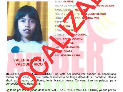 Se informa que la menor Valeria ha sido localizada.